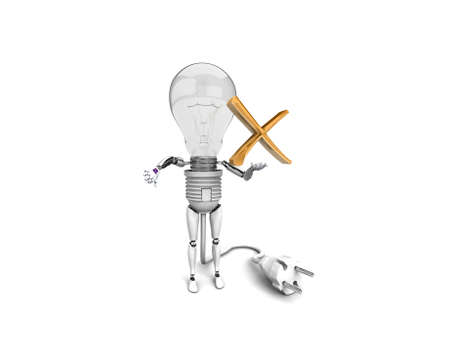 The robot bulb Holds in a hand no sign and show bad  isolated on a white background photo