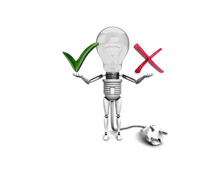 The robot 'bulb' Holds in a hands 'Yes' and 'No' signs  isolated on a white background photo
