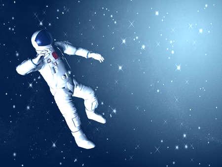 De astronaut op in een ruimte tegen sterren
