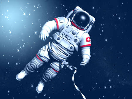 The astronaut on in an outer space against stars