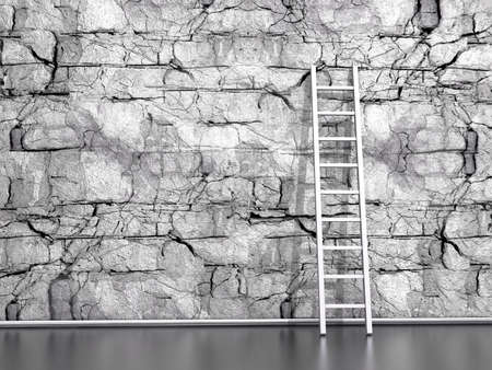 wall from the natural  stone with a wooden ladder photo