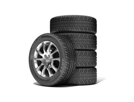 Wheels isolated on white. 3d illustration.  Stock Illustration - 20700165