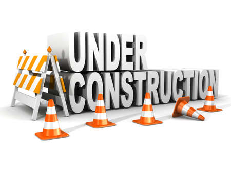 metal construction: under construction! with traffic cones  Stock Photo