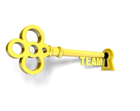 3D render of a golden key team photo
