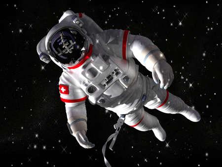 De astronaut in de ruimte tegen de sterren