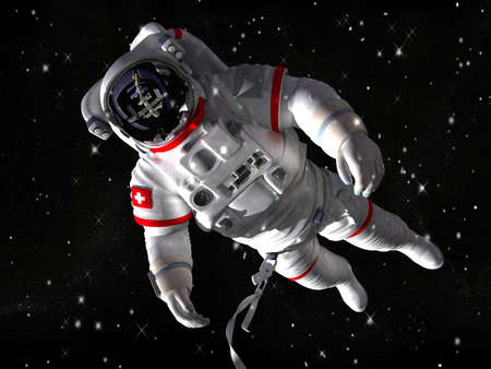 astronaut: The astronaut in outer space against stars  Stock Photo