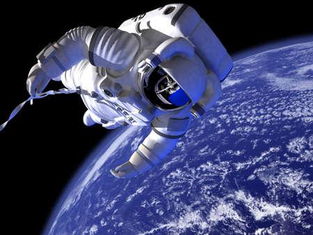 De astronaut in de ruimte tegen de wereld Stockfoto