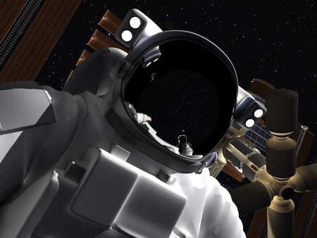 The astronaut in outer space against stars  photo