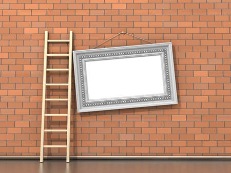 Brick wall with wooden ladder and empty frame photo