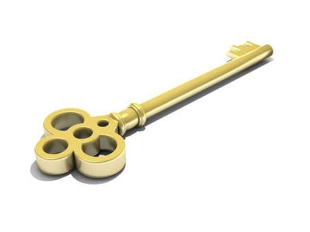 3D render of a golden key photo