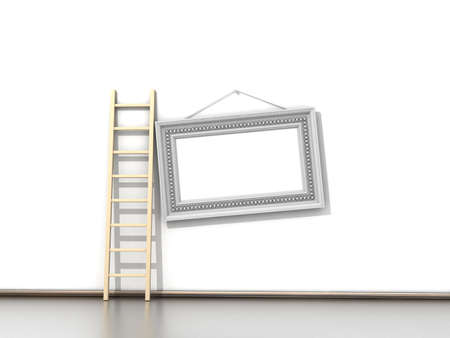 Empty wall with wooden ladder and empty frame photo