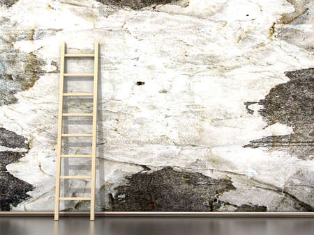concrete stairs: Dirty grunge wall with wooden ladder