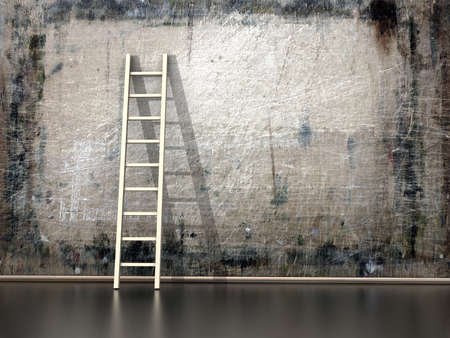 Dirty grunge wall with wooden ladder  photo