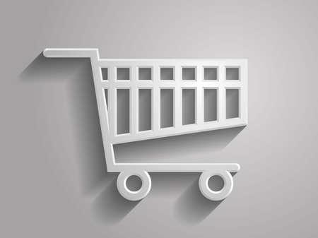 3D Vector illustratie van shoppind cart icon Stock Illustratie