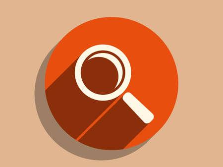investigators: Flat long shadow icon of loupe