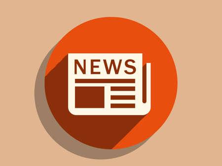 뉴스의 평평한 긴 그림자 아이콘
