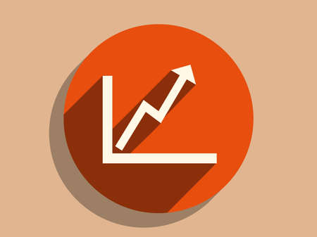 sales graph: Flat long shadow icon of graph Illustration