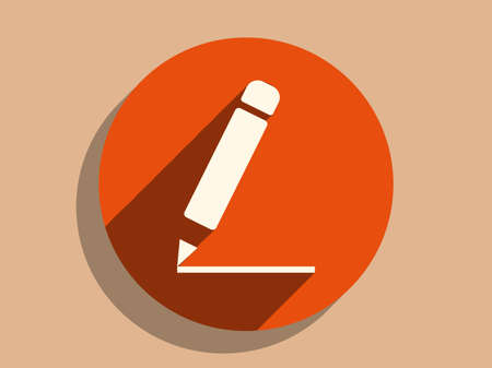edit icon: Flat long shadow icon of notes Illustration
