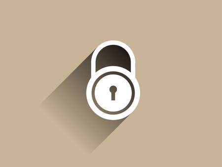 forbidden to pass: Flat long shadow icon of lock