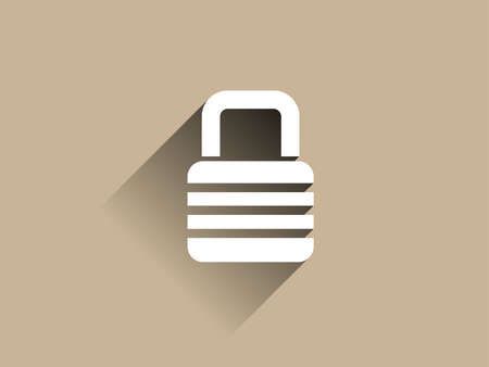 Flat long shadow icon of lock Vector