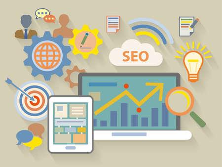 analytics: Vector Flat Design style illustration of website analytics search information concept