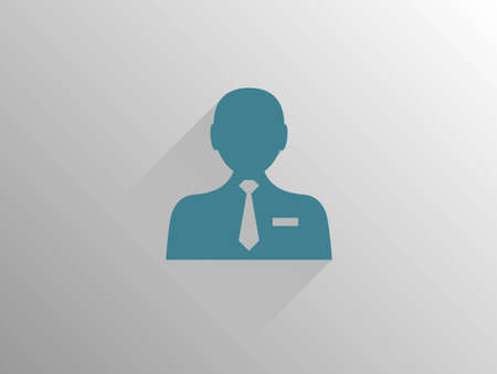 man face profile: Flat long shadow icon of businessman Illustration