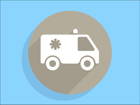 Flat long shadow icon of ambulance Vector