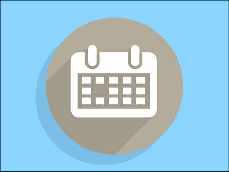 Flat long shadow icon of calendar Vector