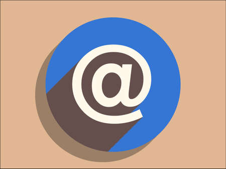 Flat long shadow icon of email Vector