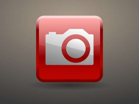 glossiness: 3d glossiness button icon of a camera Illustration