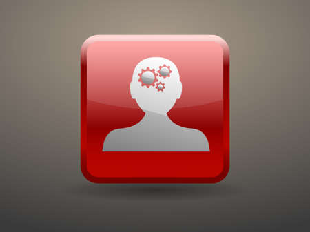 glossiness: 3d glossiness button Thinking icon Illustration