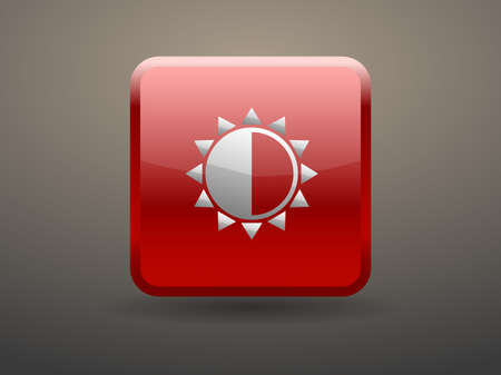 brightness: 3d glossiness button Brightness icon Illustration