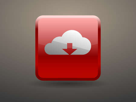 glossiness: 3d glossiness button icon of download cloud