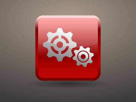 glossiness: 3d glossiness button Gears icon