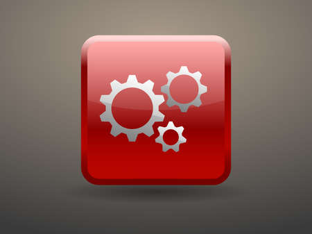 glossiness: 3d glossiness button icon of gears Illustration