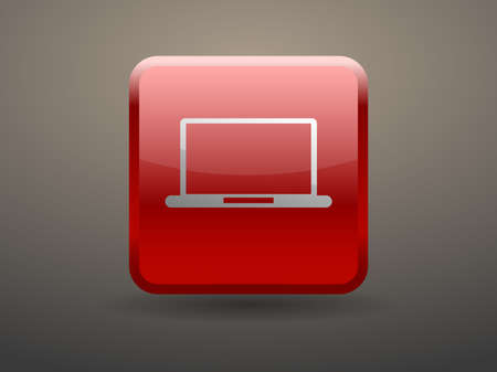 glossiness: 3d glossiness button icon of laptop Illustration