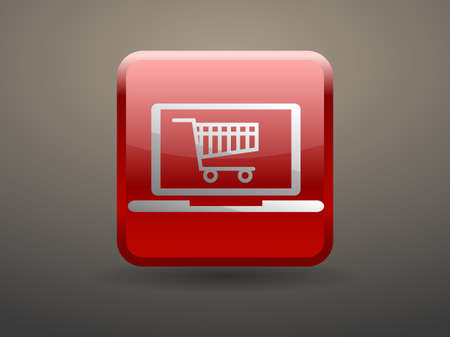 glossiness: 3d glossiness button Online shopping icon