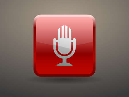 glossiness: 3d glossiness button icon of microphone Illustration