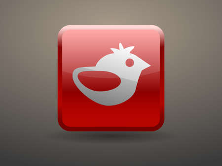 glossiness: 3d glossiness button icon of bird