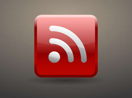 glossiness: 3d glossiness button icon of rss