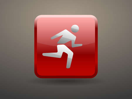 glossiness: 3d glossiness button icon of running man