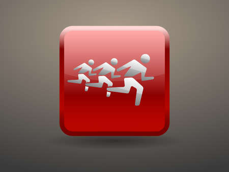 glossiness: 3d glossiness button icon of running mans