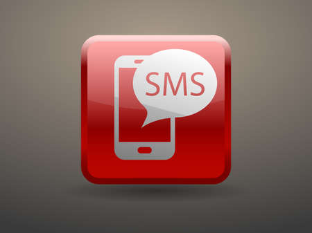 glossiness: 3d glossiness button sms icon