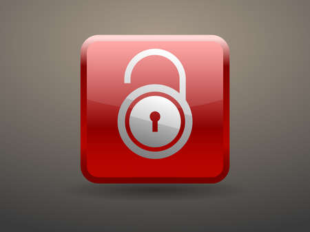 forbidden to pass: 3d glossiness button icon of unlock