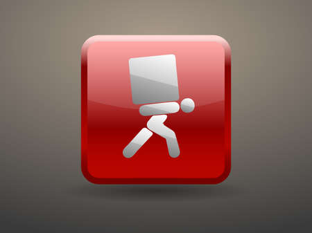 man carrying box: 3d glossiness button icon of dilivery