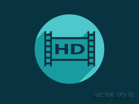 hd video: Flat icon of hd video