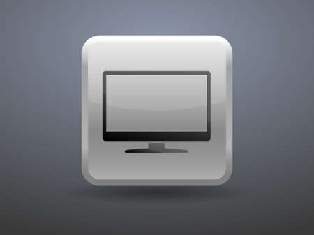 glossiness: 3d glossiness button icon of monitor