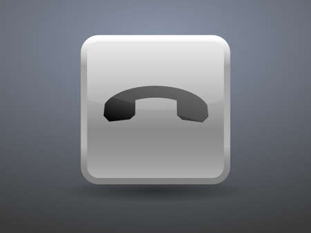 miss call: 3d glossiness button Call off icon Illustration