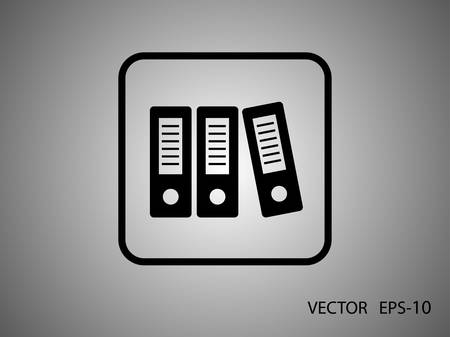 binders: Flat long shadow Row of binders icon, vector illustration