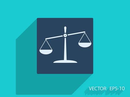 balanza justicia: Icono plana de Justicia Vectores